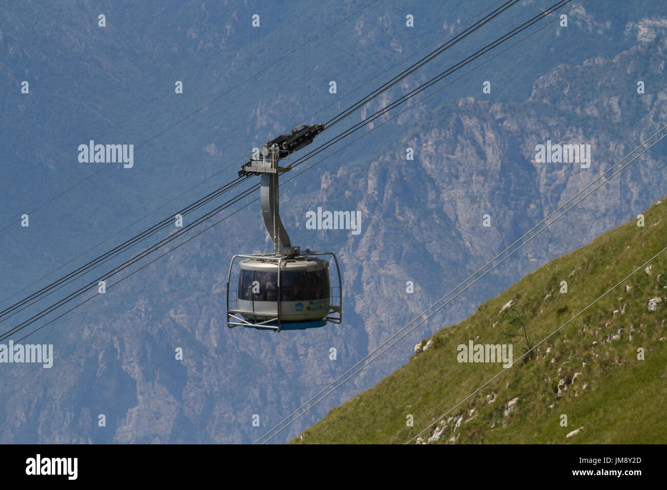 Cable Car Up Monte Blonde From Malcesine Lake Garda Italy Stock