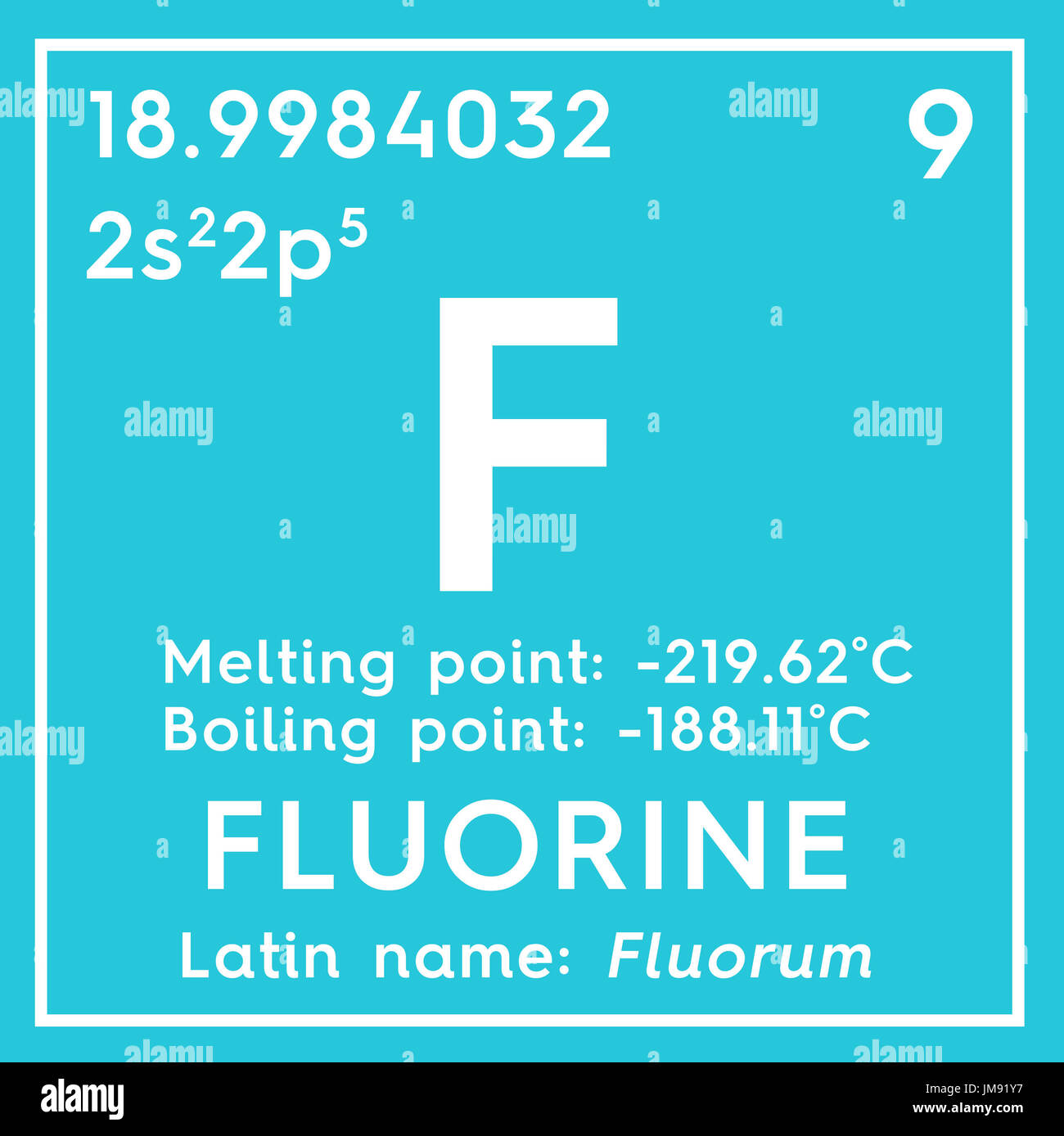 Fluorine halogens chemical element of mendeleevs periodic table fluorine halogens chemical element of mendeleevs periodic table fluorine in square cube creative concept urtaz Image collections