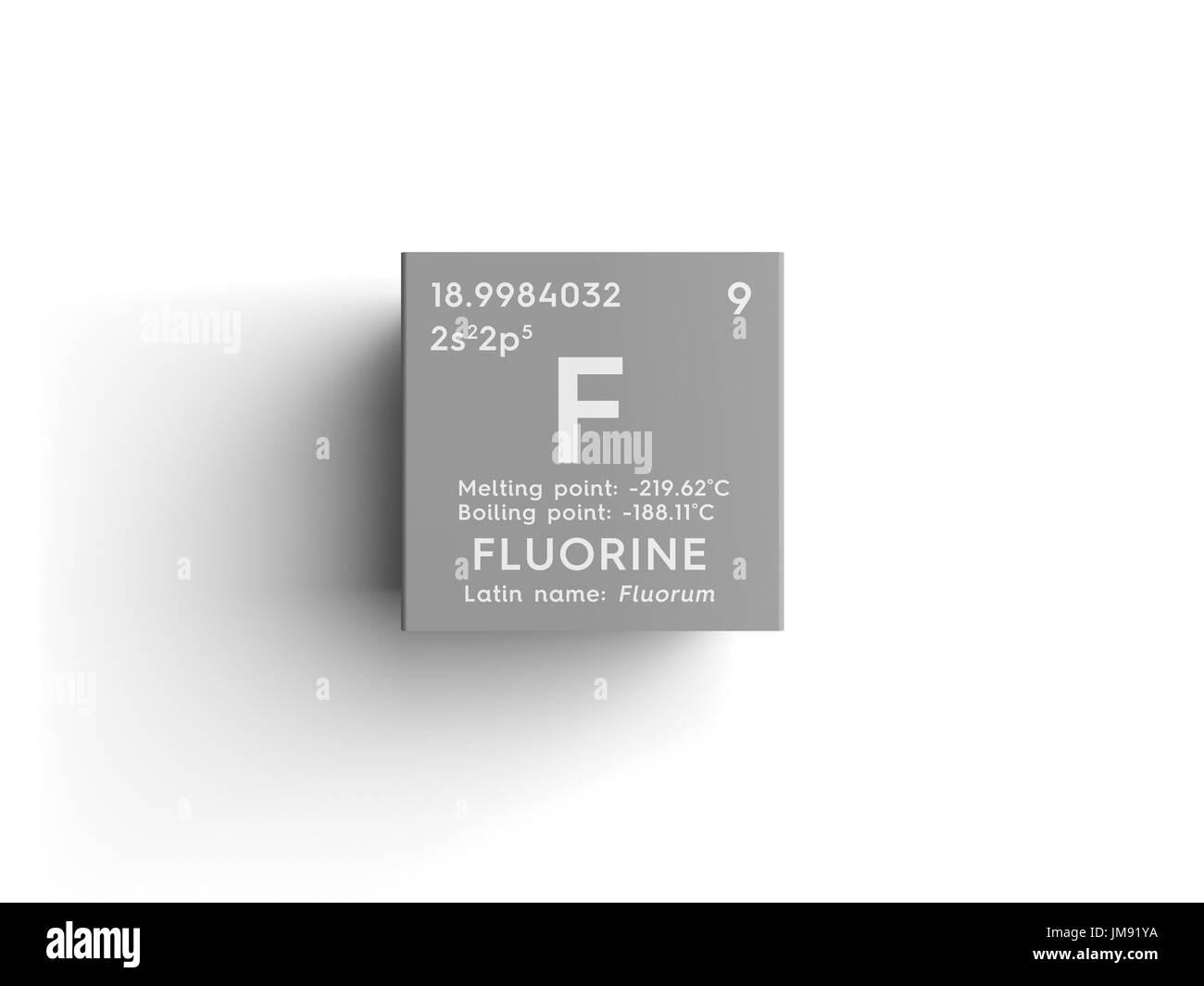 Fluorine halogens chemical element of mendeleevs periodic table chemical element of mendeleevs periodic table fluorine in square cube creative concept urtaz Choice Image