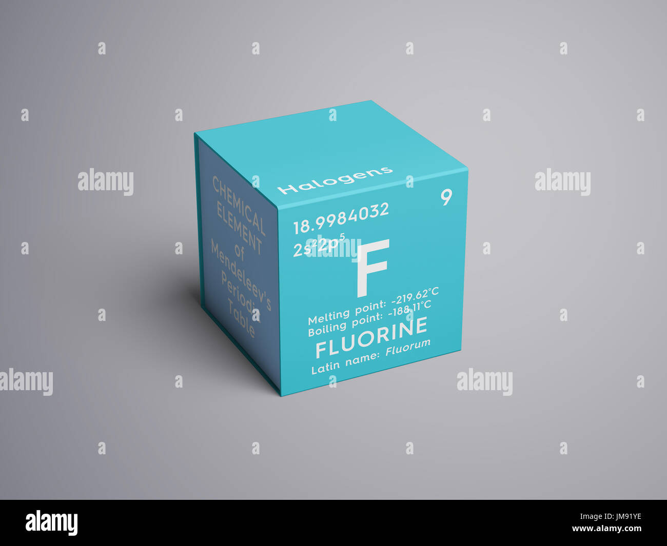 Fluorine halogens chemical element of mendeleevs periodic table chemical element of mendeleevs periodic table fluorine in square cube creative concept urtaz Images