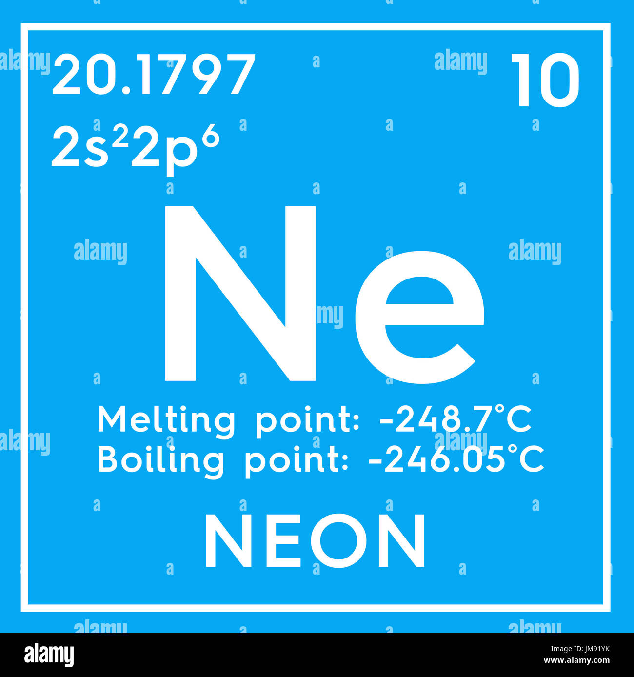 Neon noble gases chemical element of mendeleevs periodic table chemical element of mendeleevs periodic table neon in square cube creative concept gamestrikefo Images