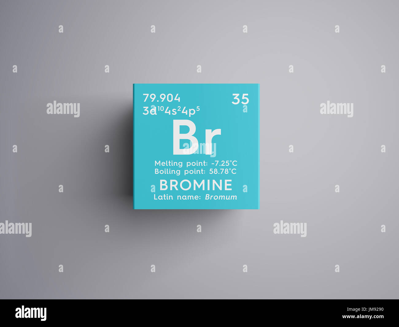 bromine bromum halogens chemical element of mendeleevs periodic table bromine in square cube creative concept - Periodic Table Halogens