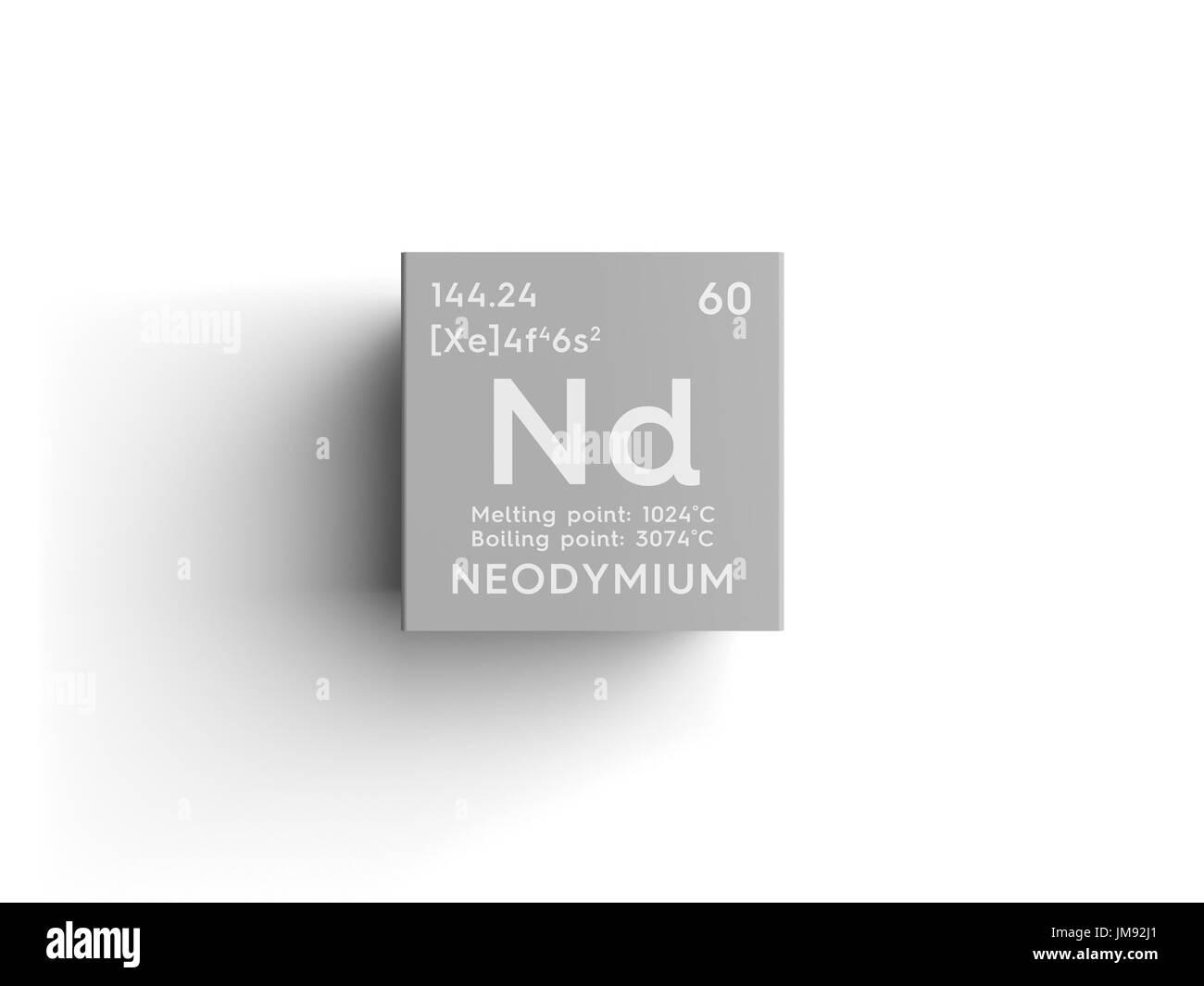 Neodymium lanthanoids chemical element of mendeleevs periodic neodymium lanthanoids chemical element of mendeleevs periodic table neodymium in square cube creative concept gamestrikefo Choice Image