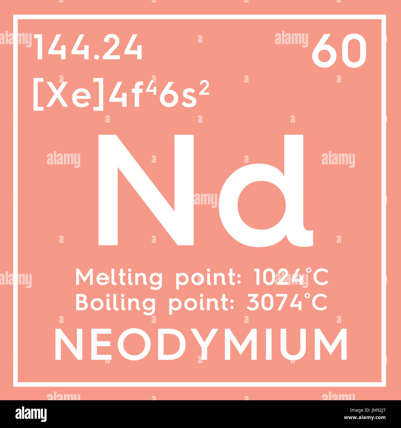 Neodymium lanthanoids chemical element of mendeleevs periodic chemical element of mendeleevs periodic table neodymium in square cube creative concept gamestrikefo Gallery