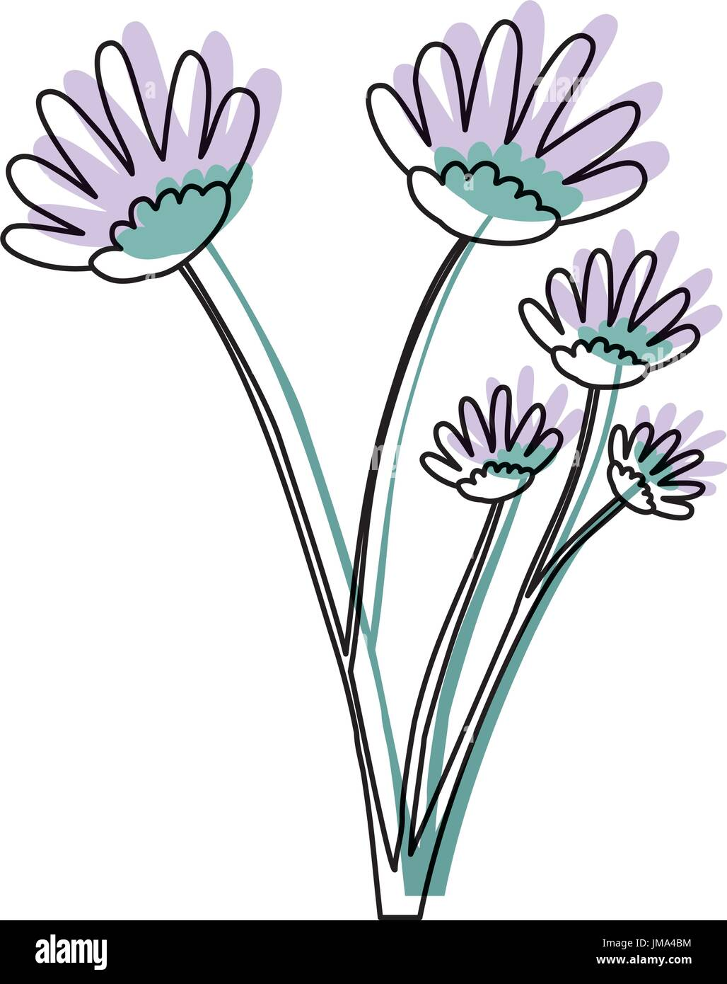 watercolor silhouette of hand drawing lilac daisy flower bouquet ...