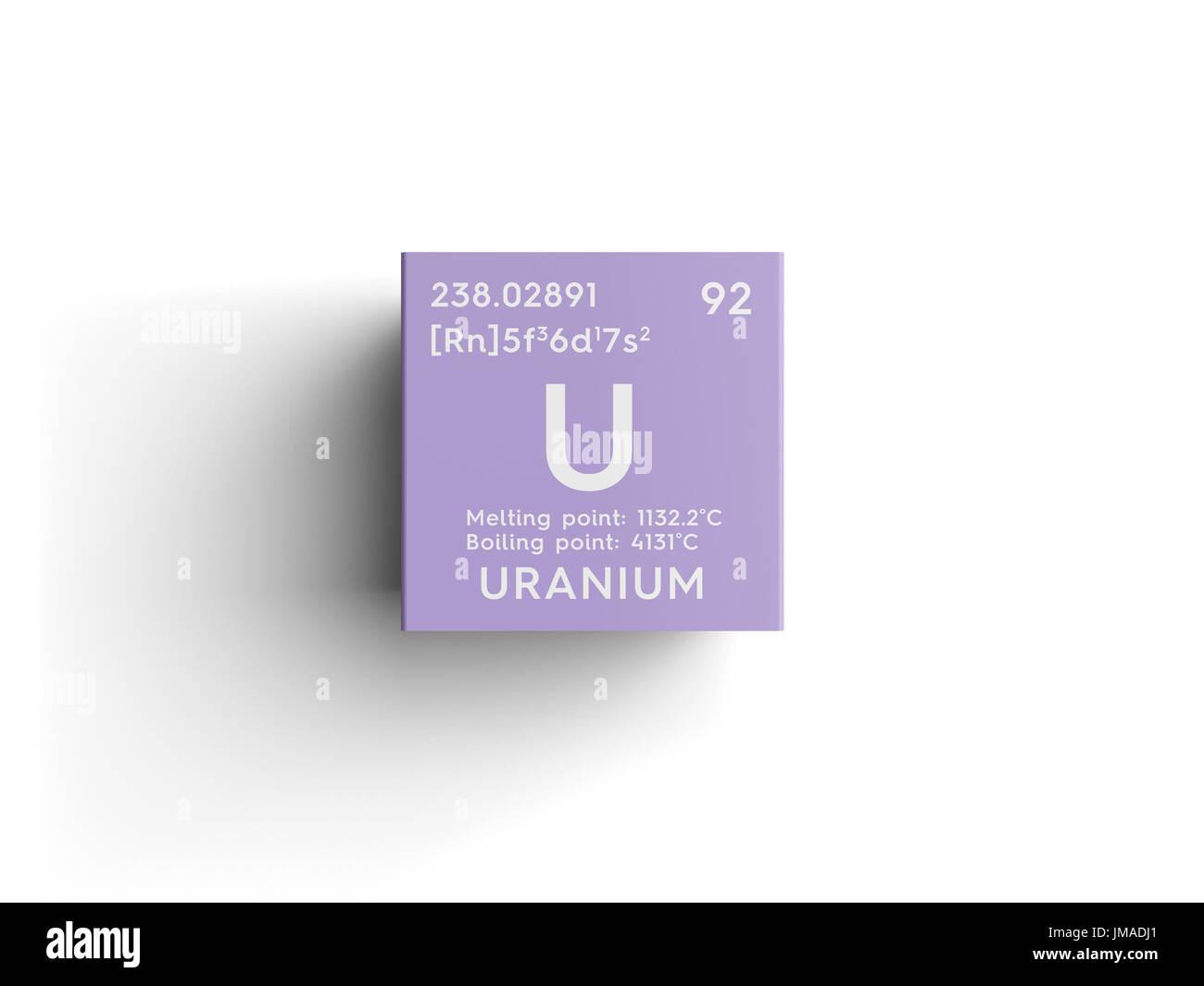 Uranium actinoids chemical element of mendeleevs periodic table uranium actinoids chemical element of mendeleevs periodic table uranium in square cube creative concept buycottarizona Images