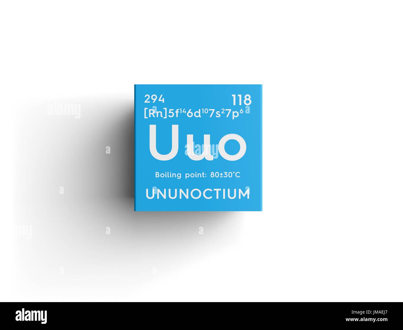 Ununoctium noble gases chemical element of mendeleevs periodic ununoctium noble gases chemical element of mendeleevs periodic table ununoctium in square cube creative concept urtaz Gallery