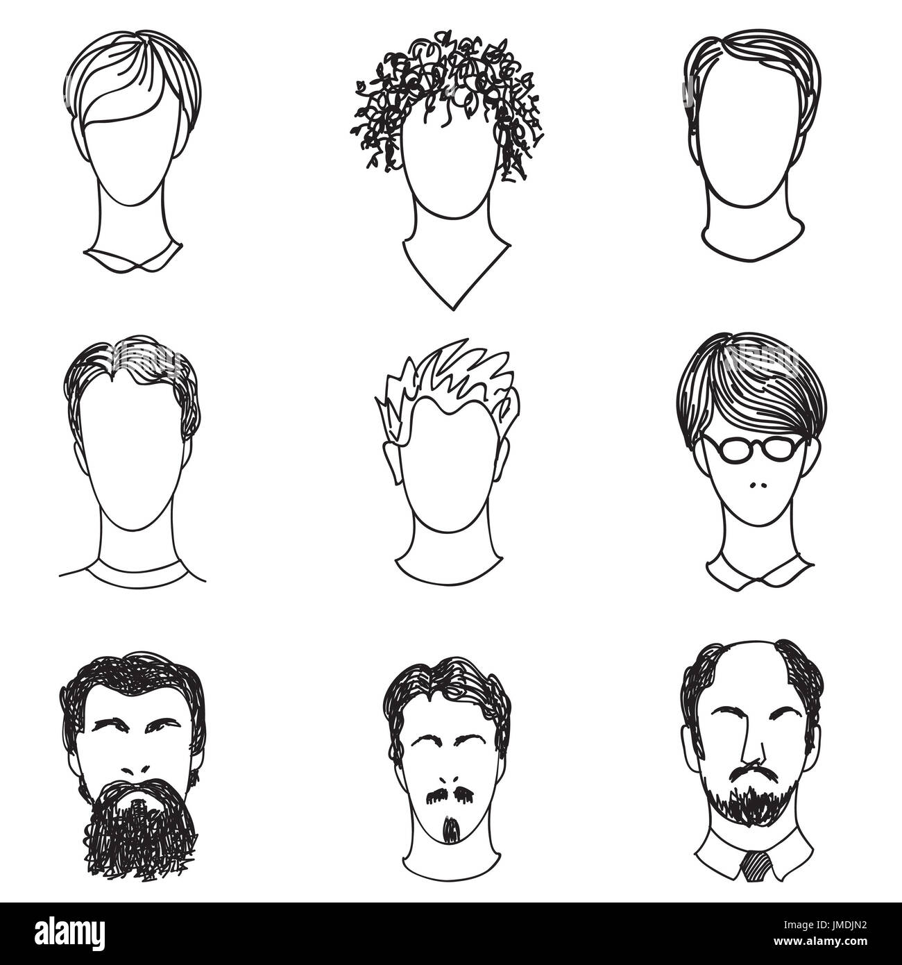Men With Various Hair Style And Beard Man Avatar Set Handsome
