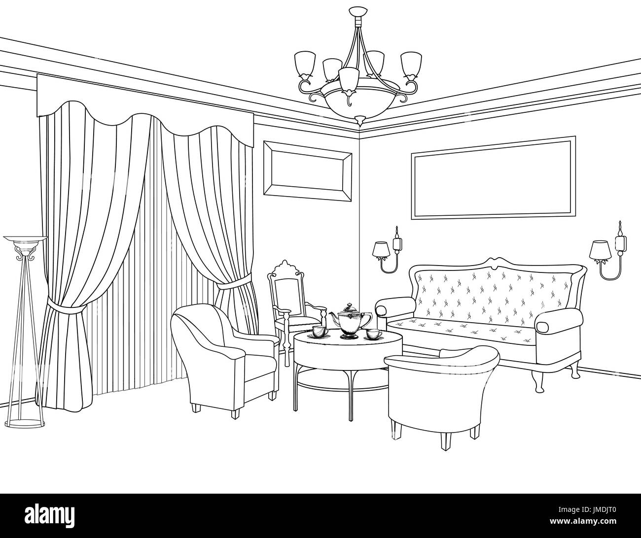 Blueprint black and white stock photos images alamy interior outline sketch furniture blueprint architectural design living room stock image malvernweather Image collections