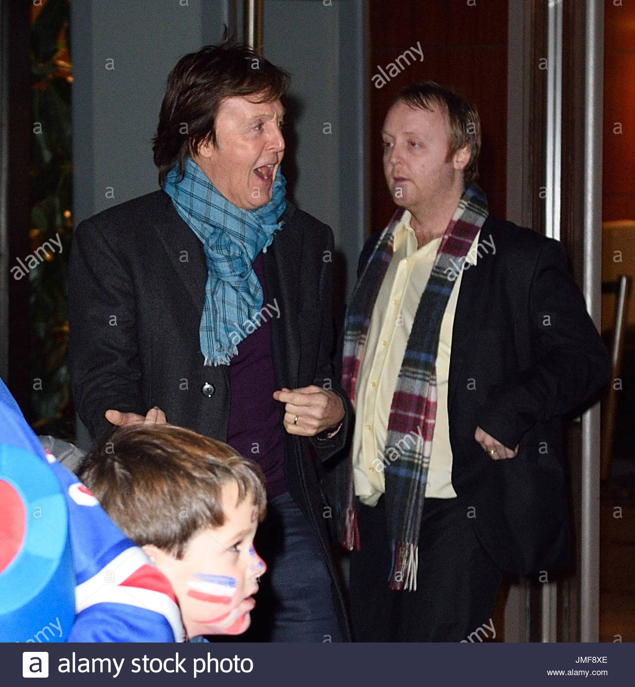 Paul McCartney With Son James And Daughter Mary Leave The Rangers Game In NYC