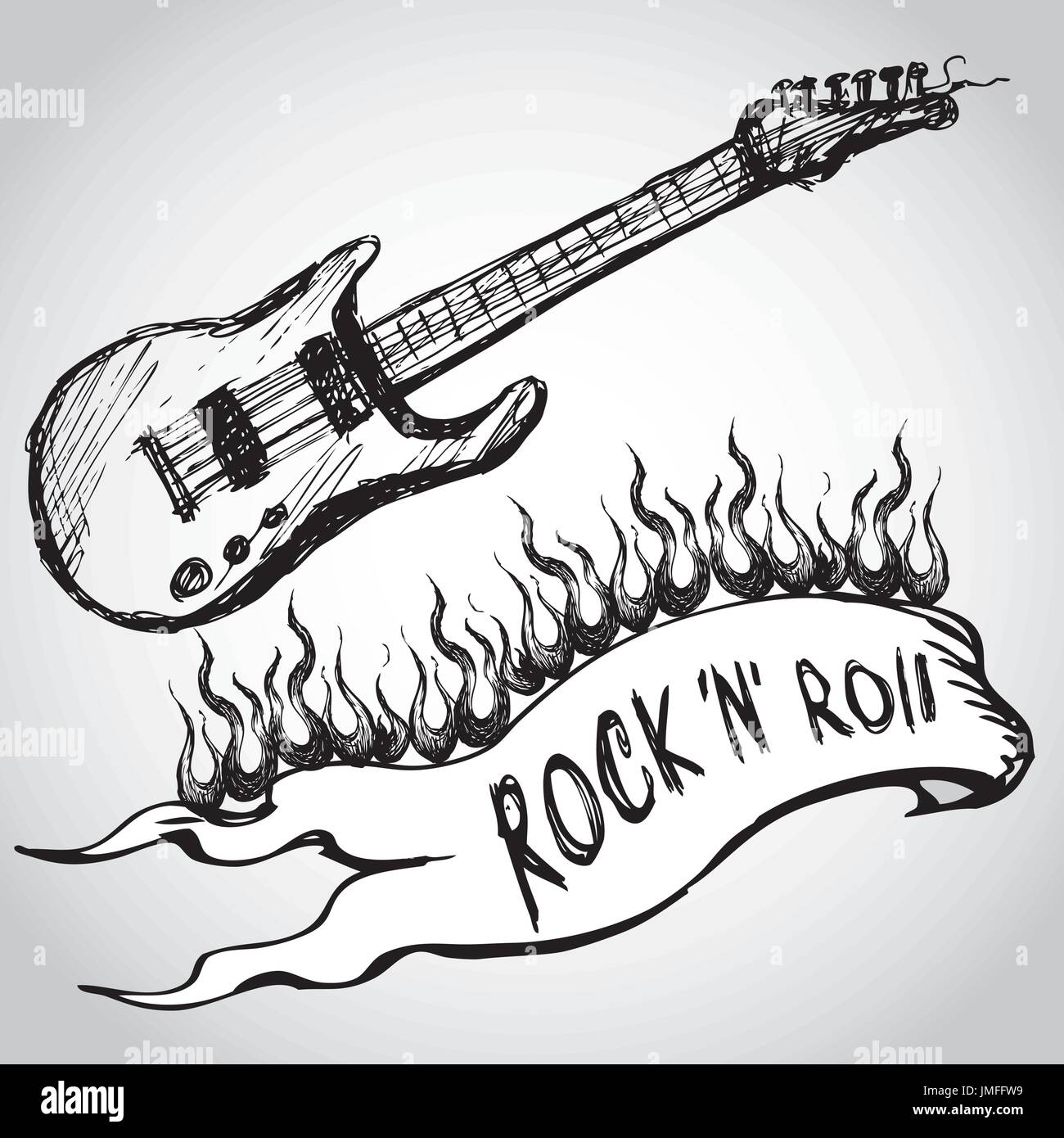 Guitar Flames Rock And Roll Hand Drawing Vector