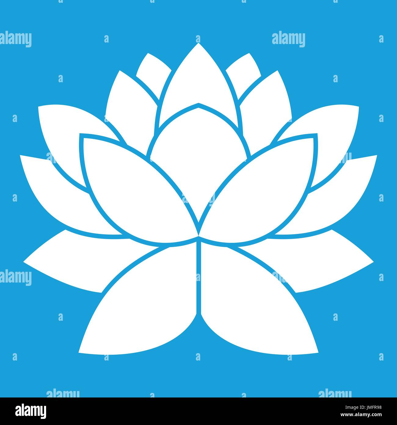 Lotus flower icon white isolated on blue background vector stock lotus flower icon white isolated on blue background vector illustration izmirmasajfo