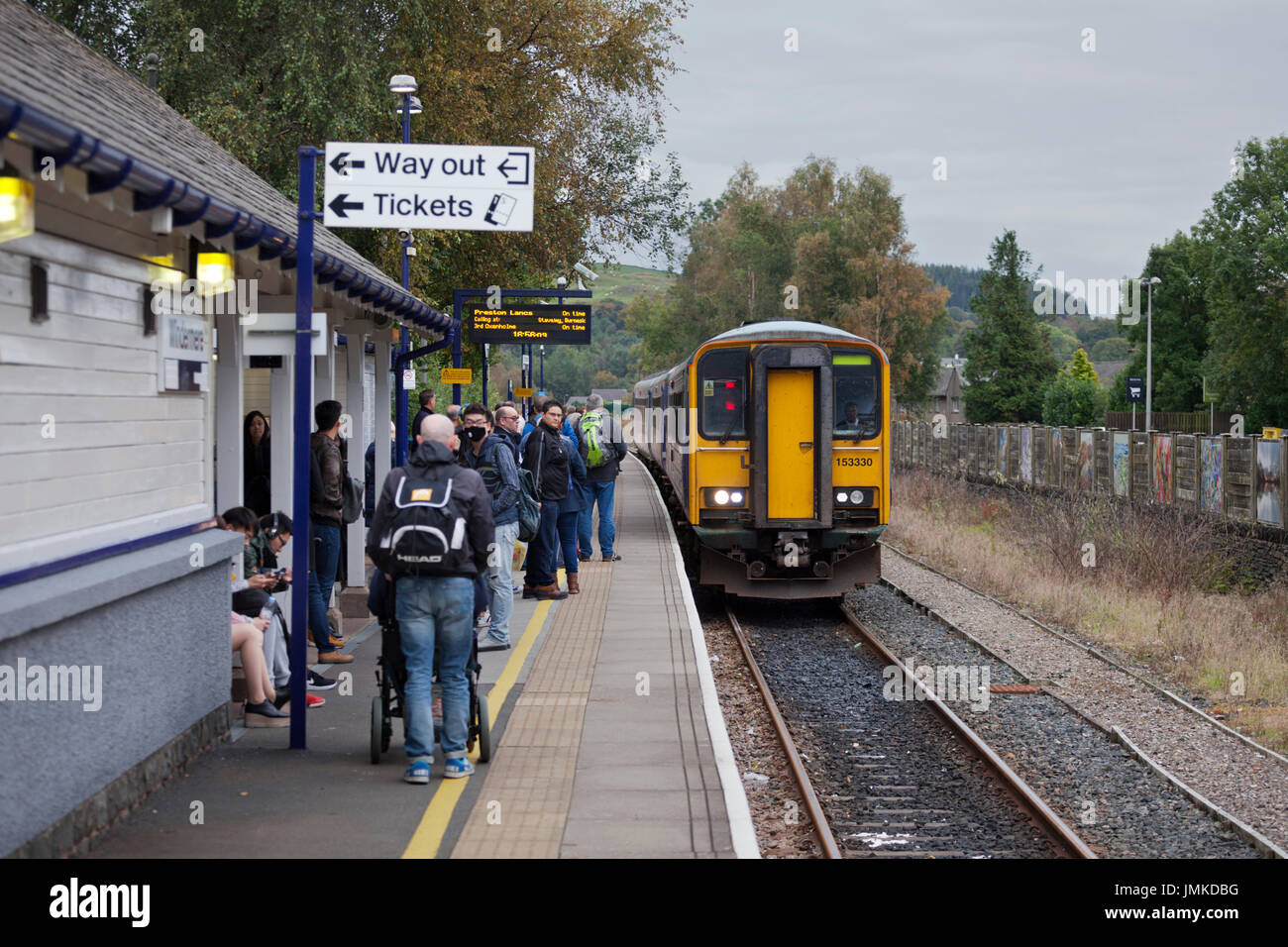 The 1634 Oxenholme - Windermere Northern Rail sprinter train arrives at  Windermere