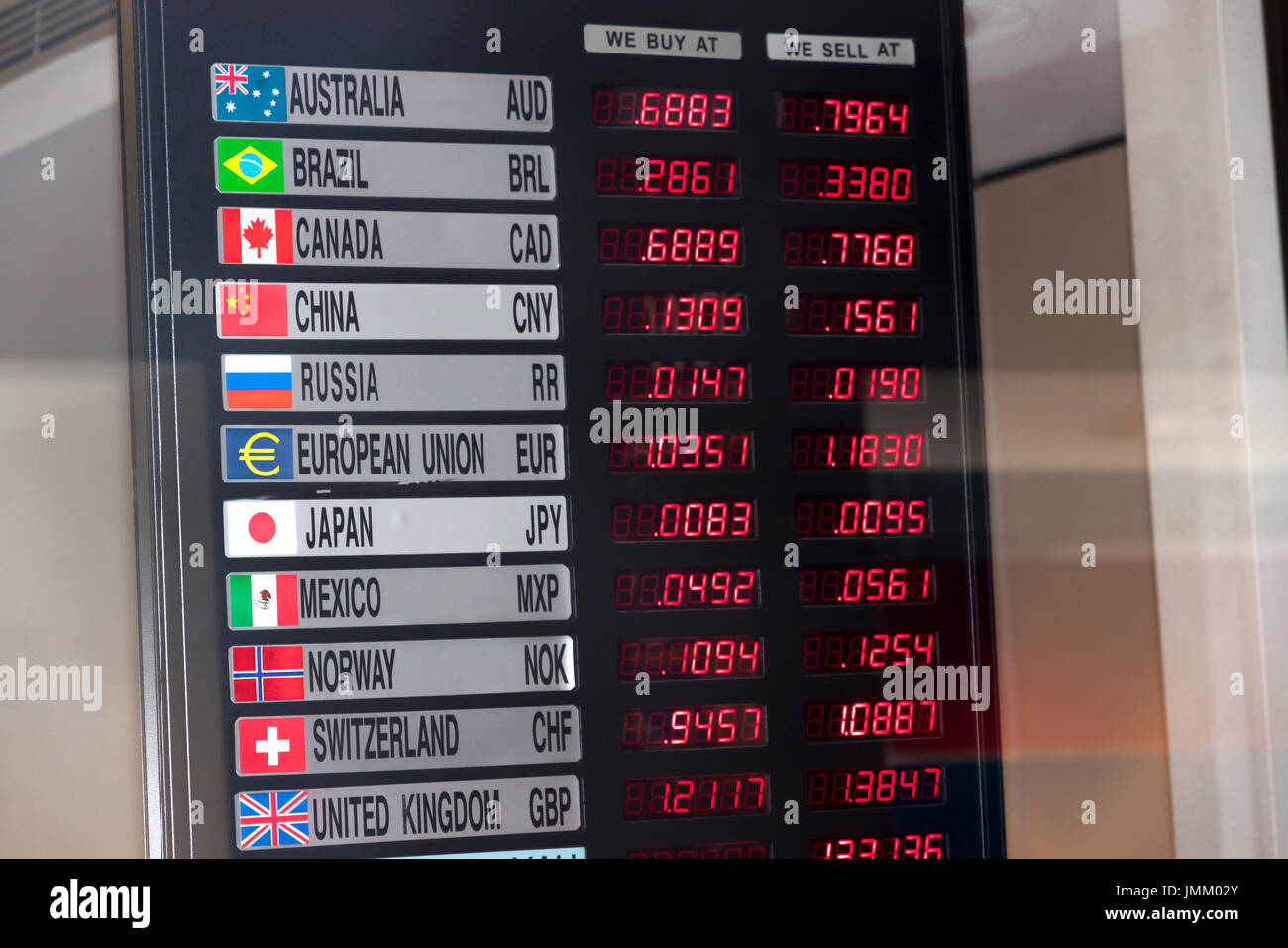 Currency exchange rate board in new york city new york usa stock