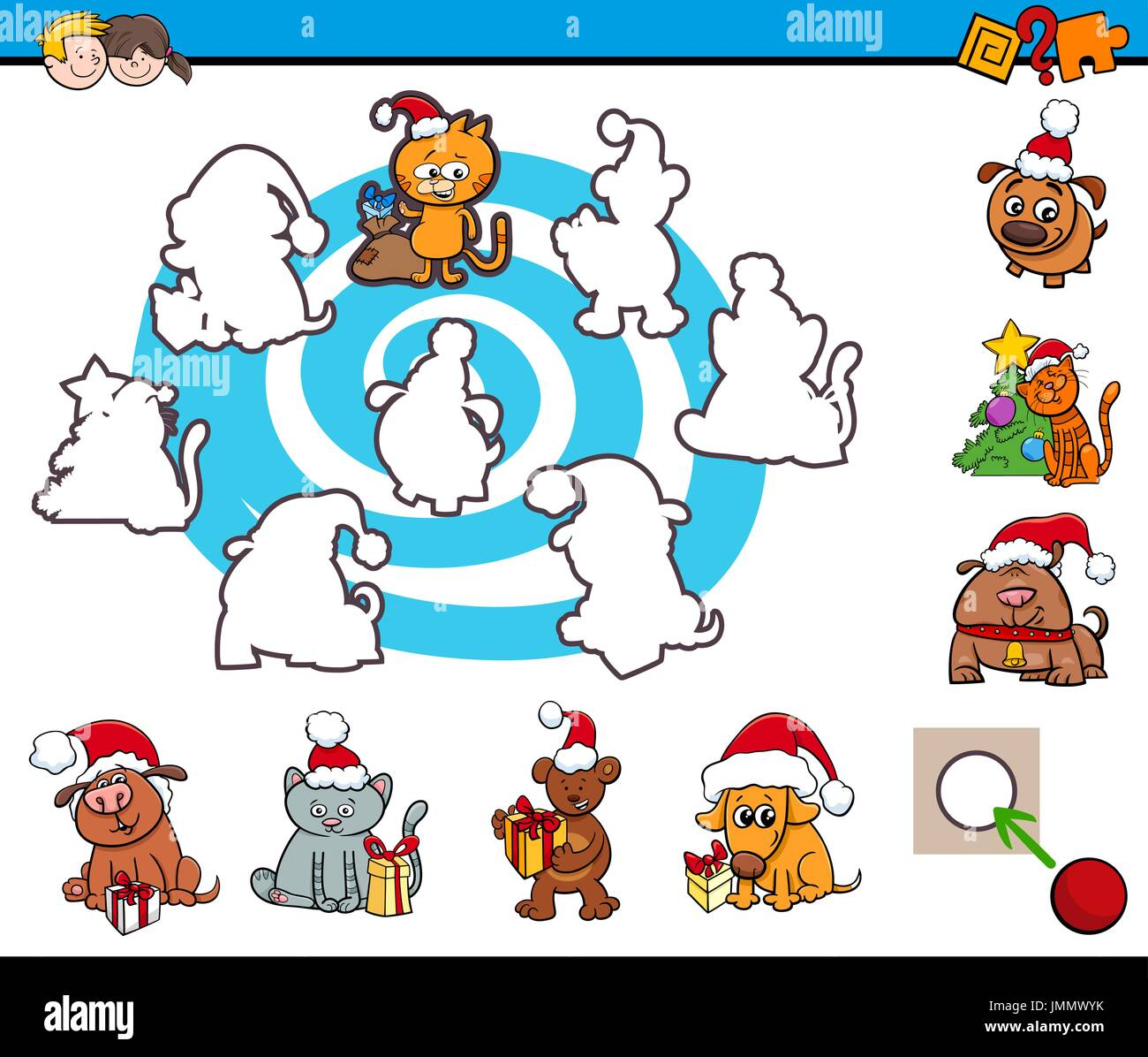 Cartoon Illustration of Educational Activity for Preschool Children ...