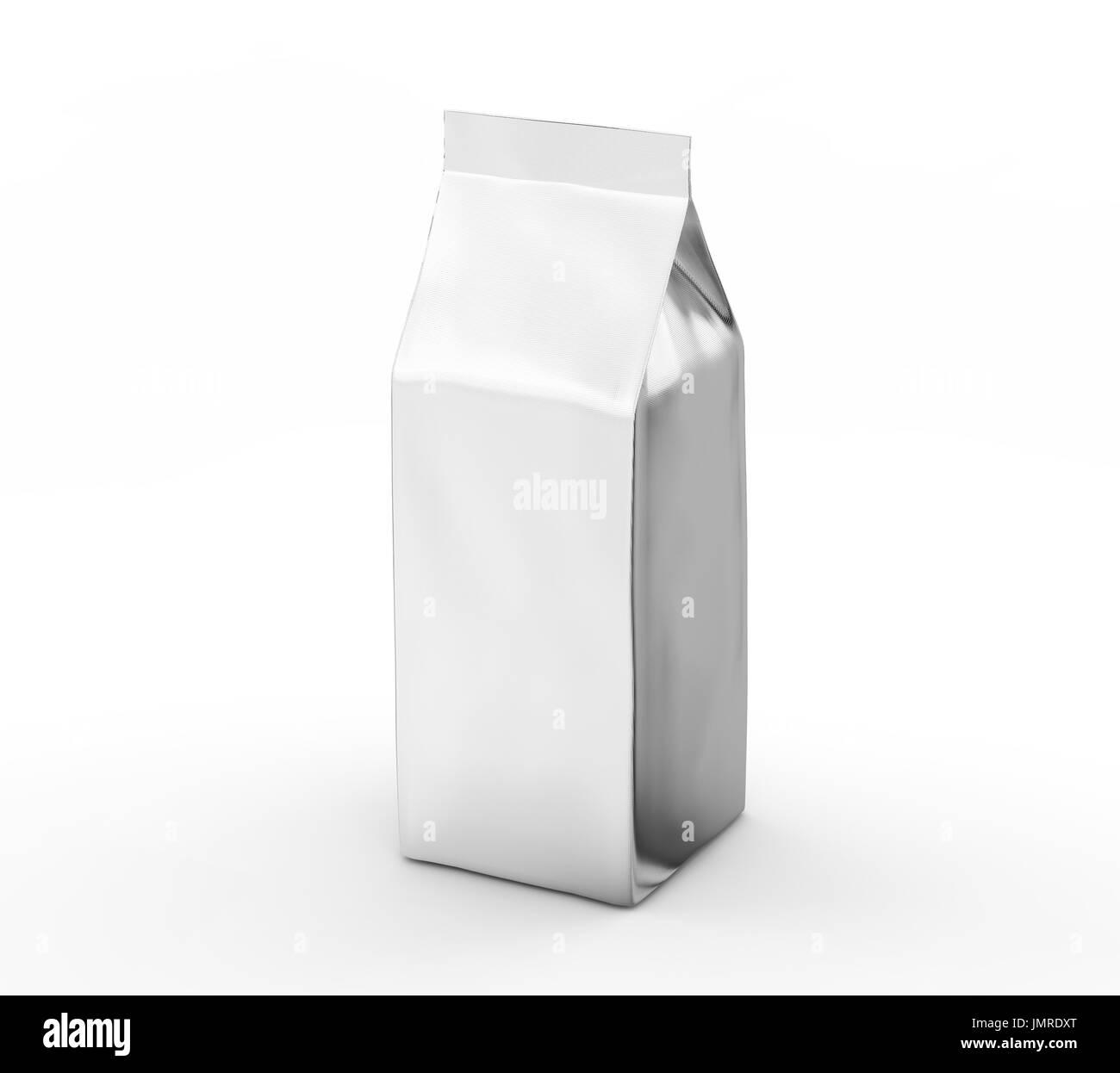 coffee bean package mockup blank silver bag template in 3d