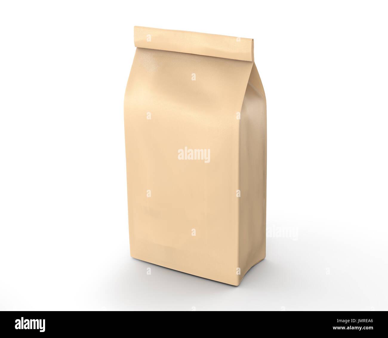 Coffee bean package mockup, blank craft paper bag template in 3d ...