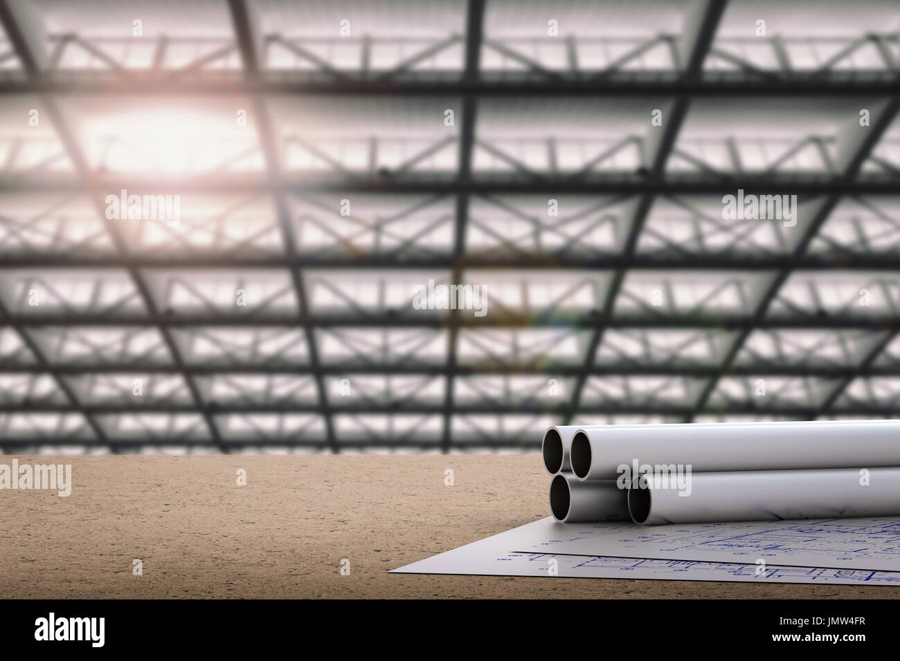 Civil engineer concept with metal pipes and blueprint paper stock civil engineer concept with metal pipes and blueprint paper malvernweather Image collections