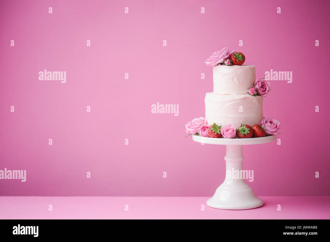 Cake decorated with fresh fruit and flowers Stock Photo: 150533020 ...