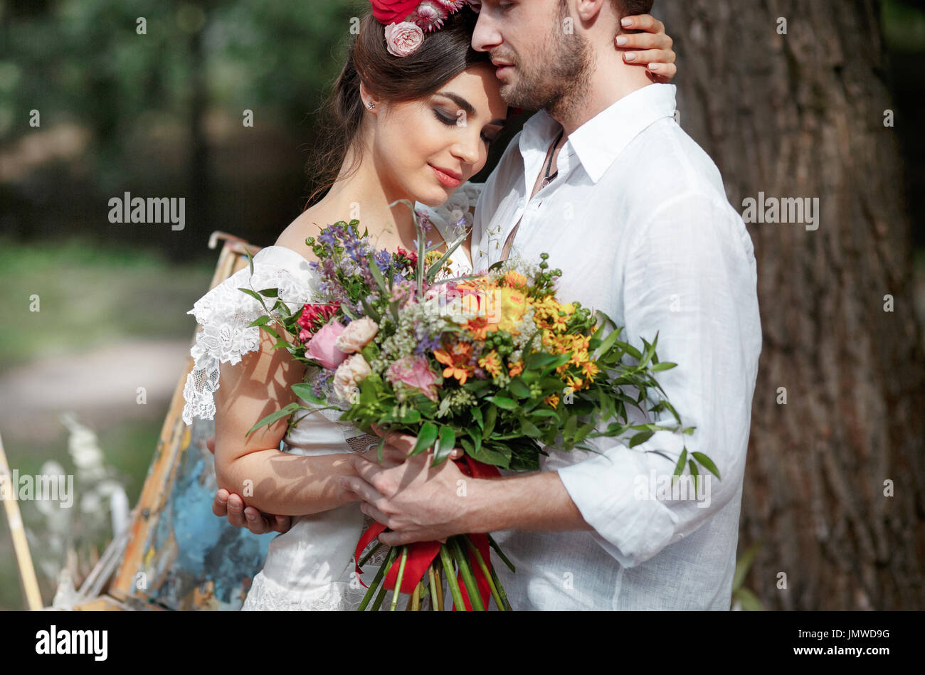 Wedding Decoration In The Style Of Boho Floral Arrangement Stock