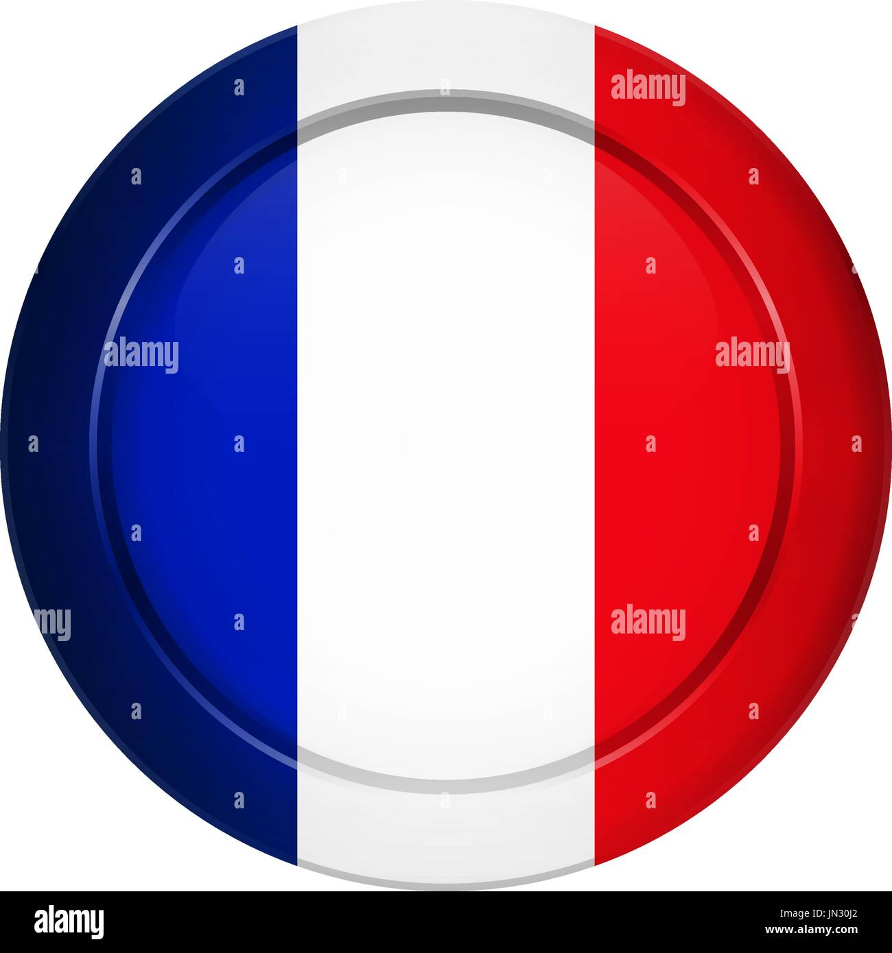 Flag button design. French flag on the round button. Isolated Stock ...
