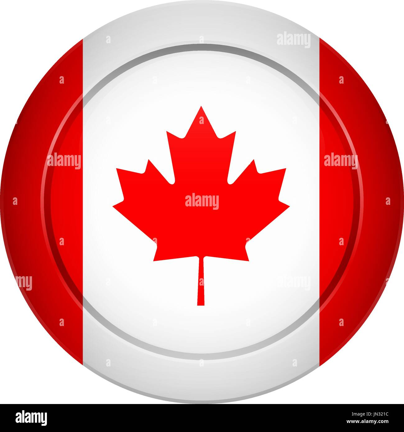 Flag Design Canadian On The Round Button Isolated Template For Your Designs Vector Illustration