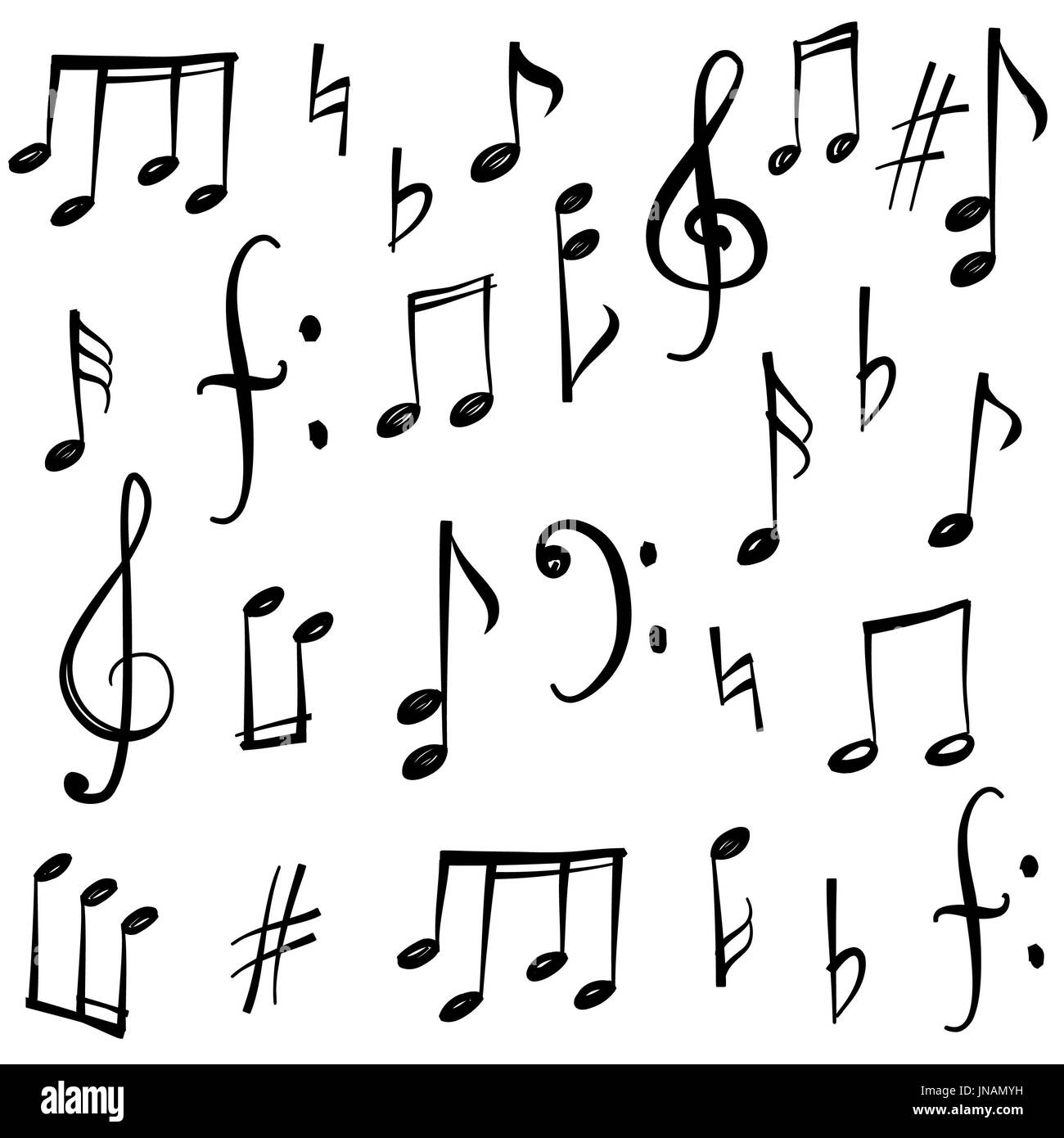 Music notes black and white stock photos images alamy music notes and signs set hand drawn music symbol sketch collection stock image biocorpaavc