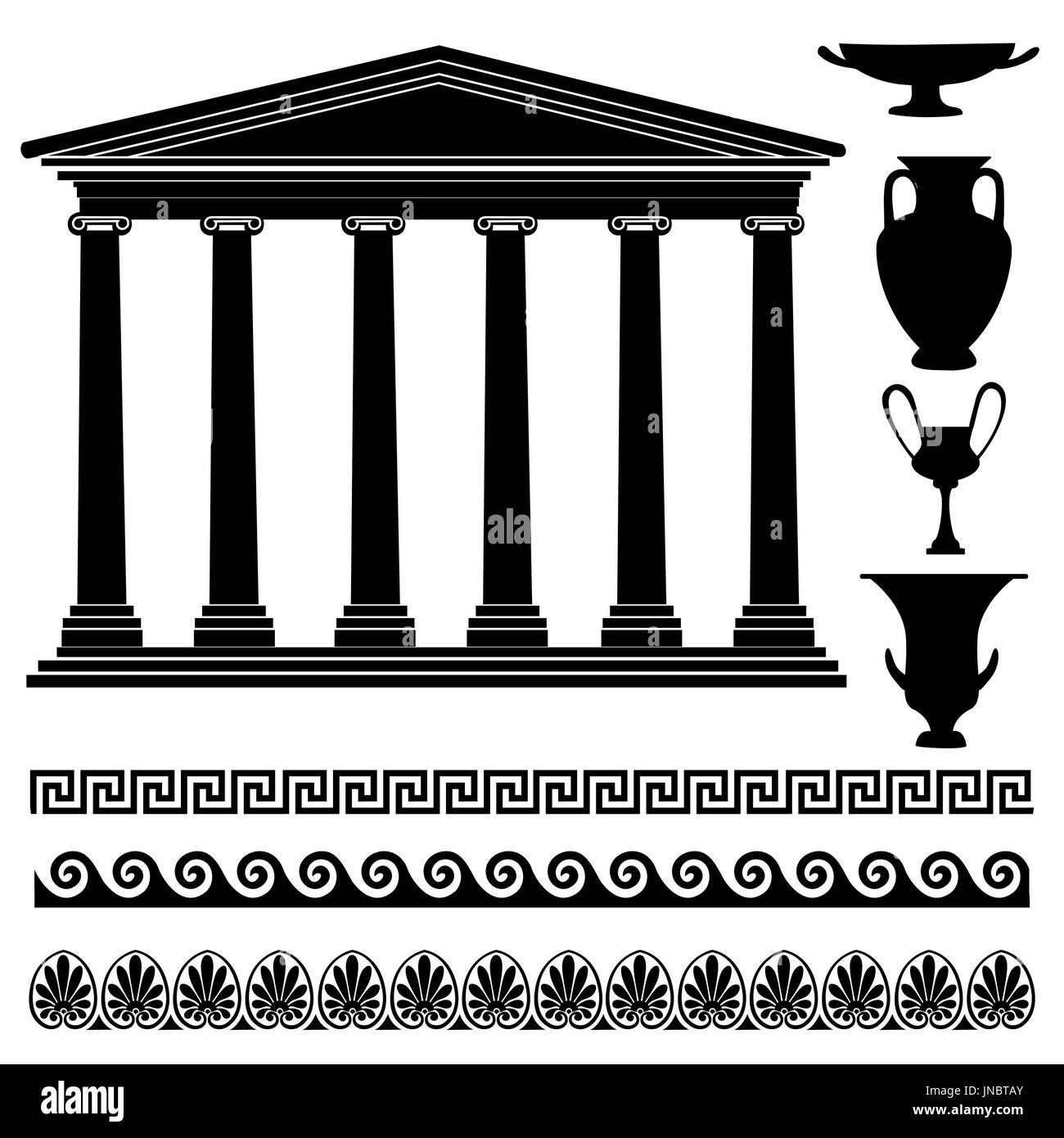 Greek Symbol Silhouette Collection Travel Greece Icon Set Stock