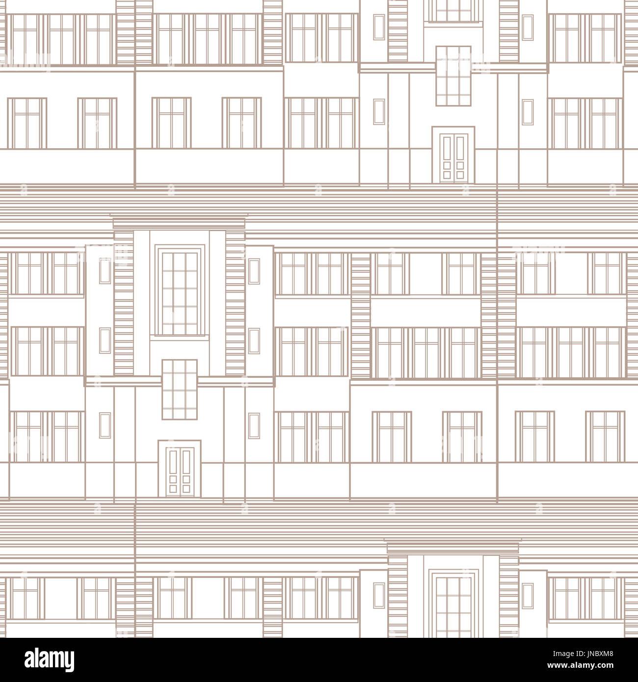 Building facade seamless pattern city architectural blueprint line building facade seamless pattern city architectural blueprint line background design element malvernweather Images