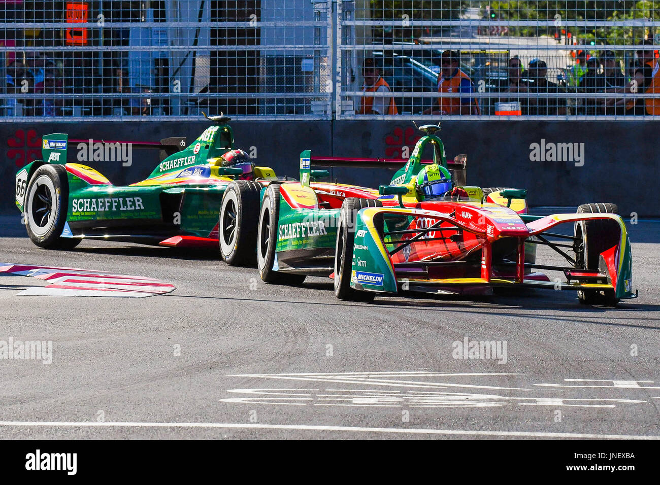 Montreal, Canada. 30th July, 2017. ABT Schaeffler Audi Sport Pilot Lucas Di  Grassi (11) Followed By ABT Schaeffler Audi Sport Pilot Daniel Abt (66)  During ...