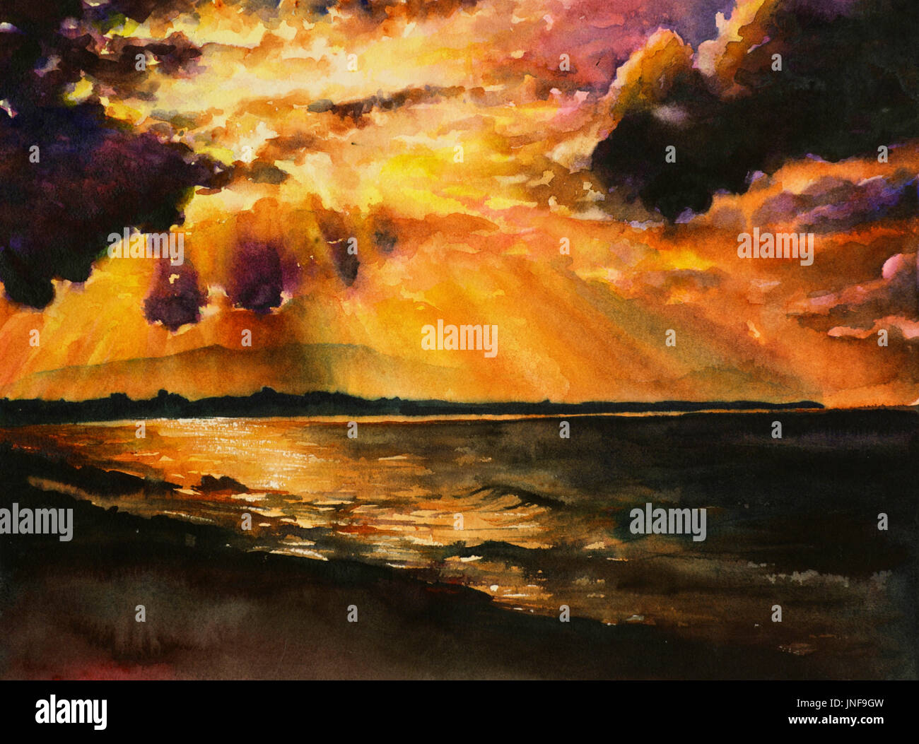 Fine Art Watercolor Painting Of Dramatic Sunset Over Lake On South Island New Zealand Landscape