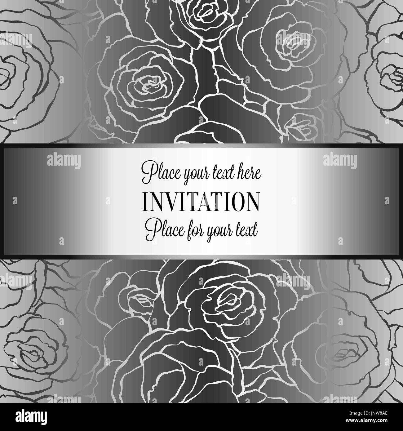 Abstract Background With Roses Luxury Metal Silver Vintage Tracery Made Of Damask Floral Wallpaper Ornaments Invitation Card Baroque Style B