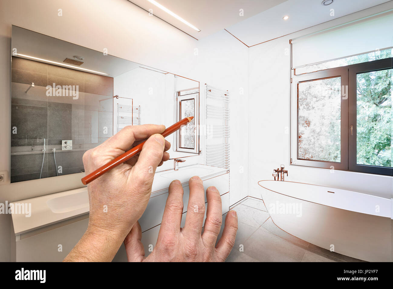Drawing renovation of a Luxury modern bathroom Bathtub in corian Faucet and shower in tiled bathroom with windows towards garden & Drawing renovation of a Luxury modern bathroom Bathtub in corian ...