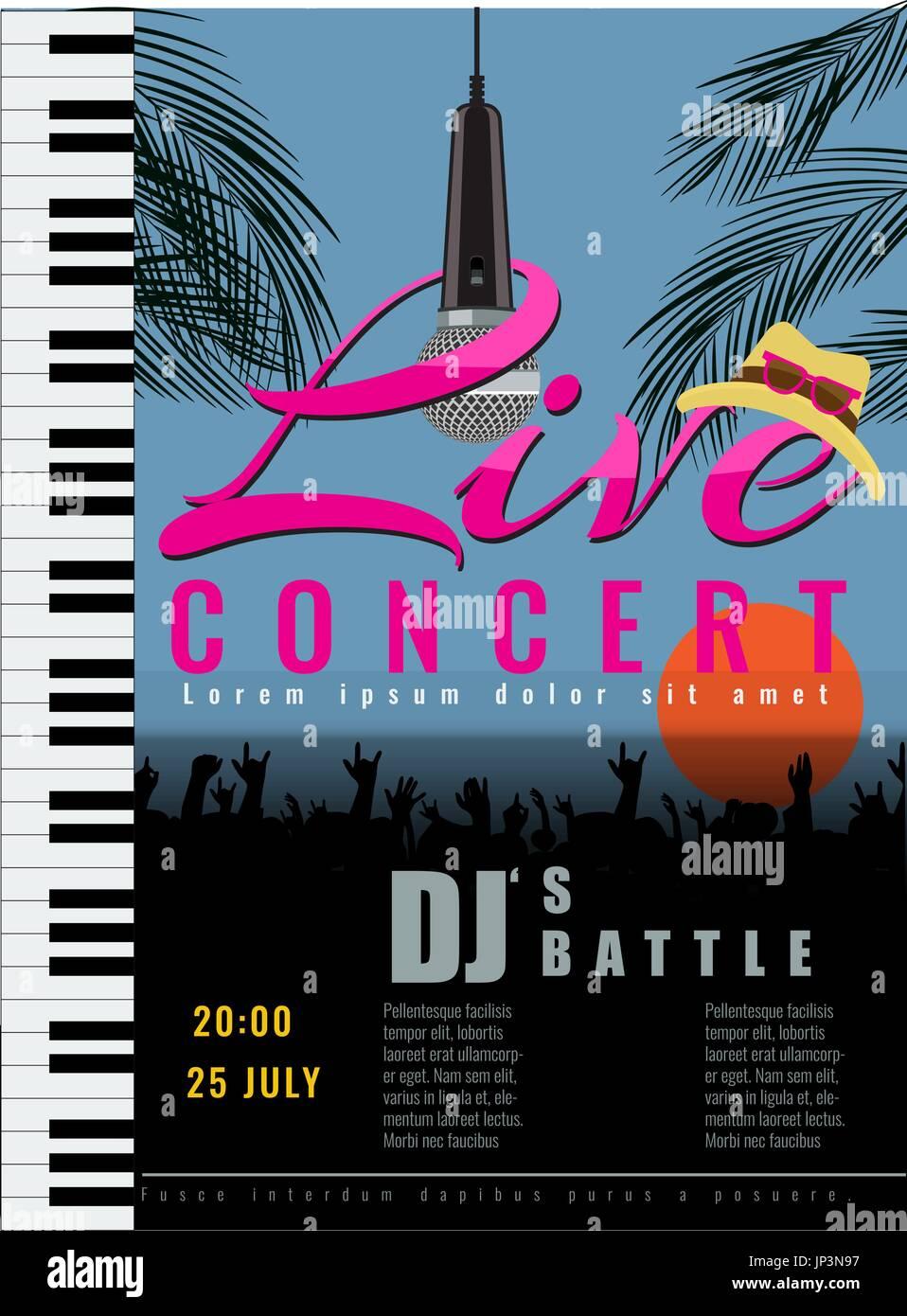 summer live musical concert poster template vector illustration