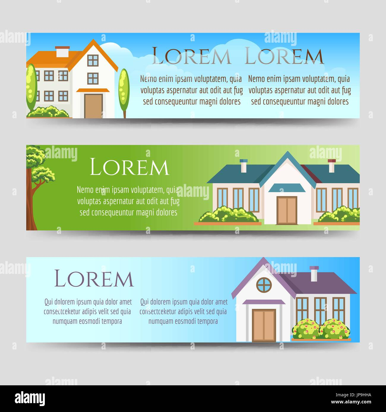 real estate horizontal banners template with houses vector stock
