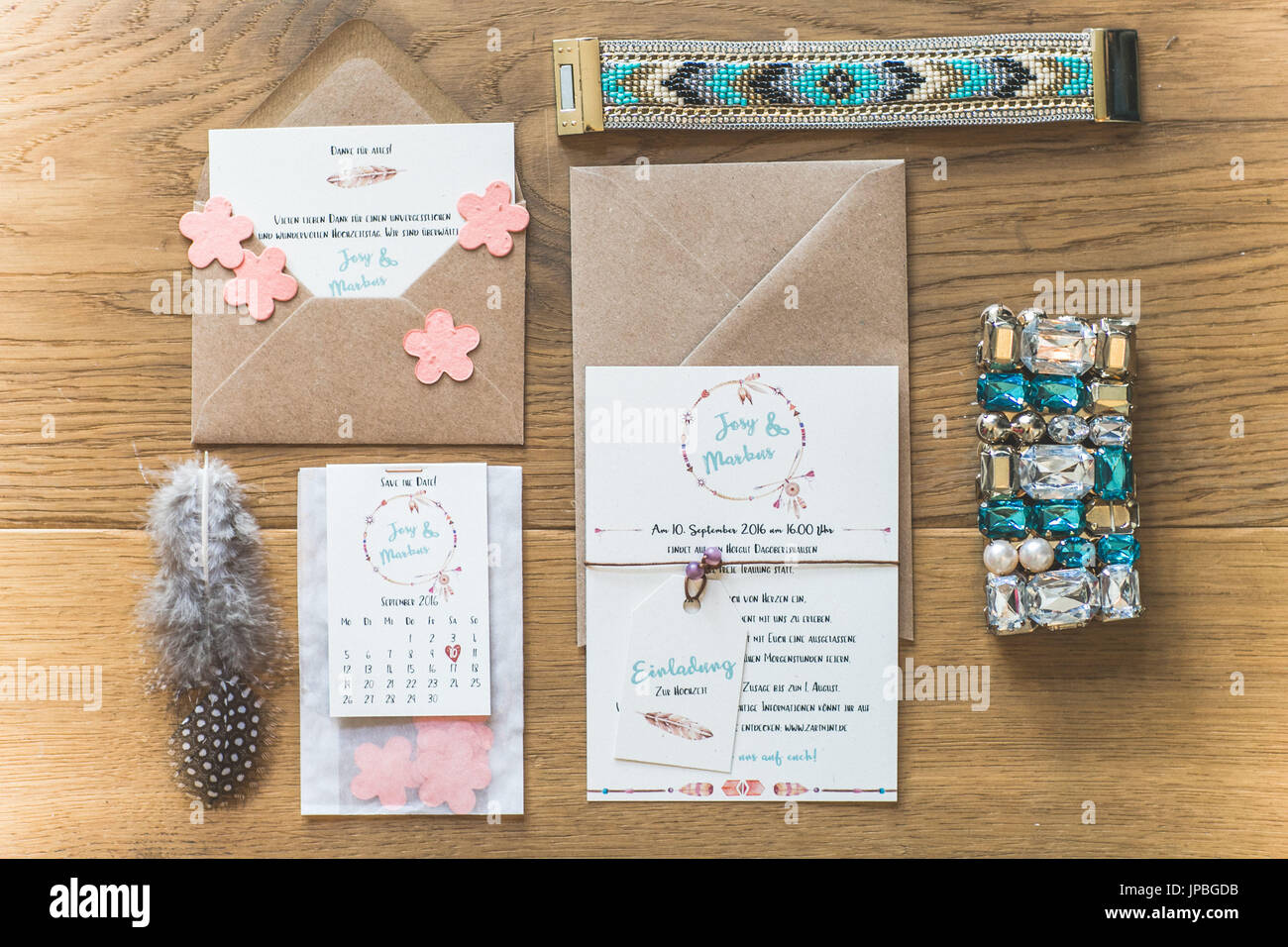 Invitation Cards And Symbols To An Indian Wedding Stock Photo