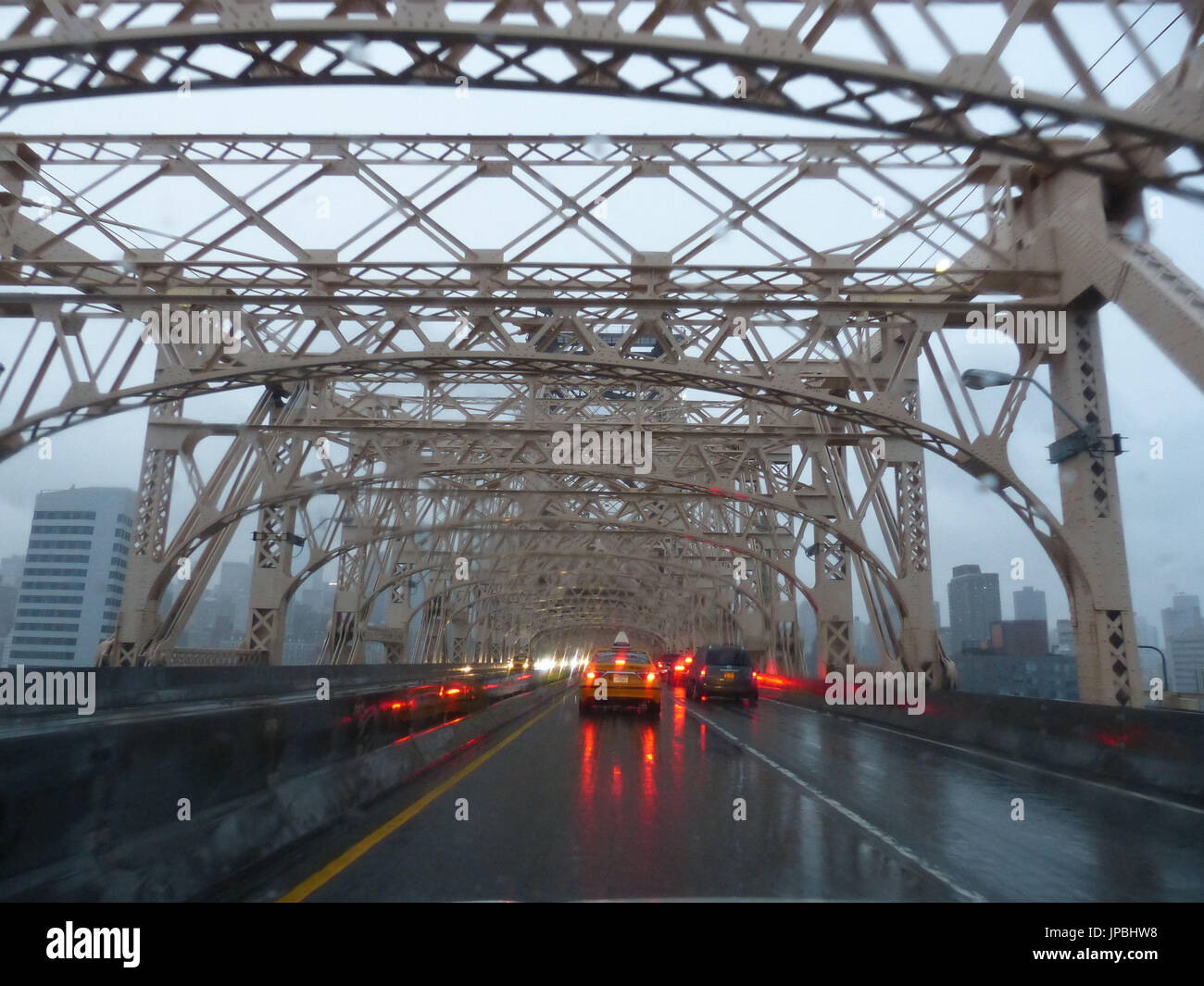 Vehicles With Brake Lights During Rain Crossing Queensborough Bridge, Aka  59th Street Bridge, Aka Ed Koch 59th Street Bridge Or Ed Koch Queensborough  Bridge