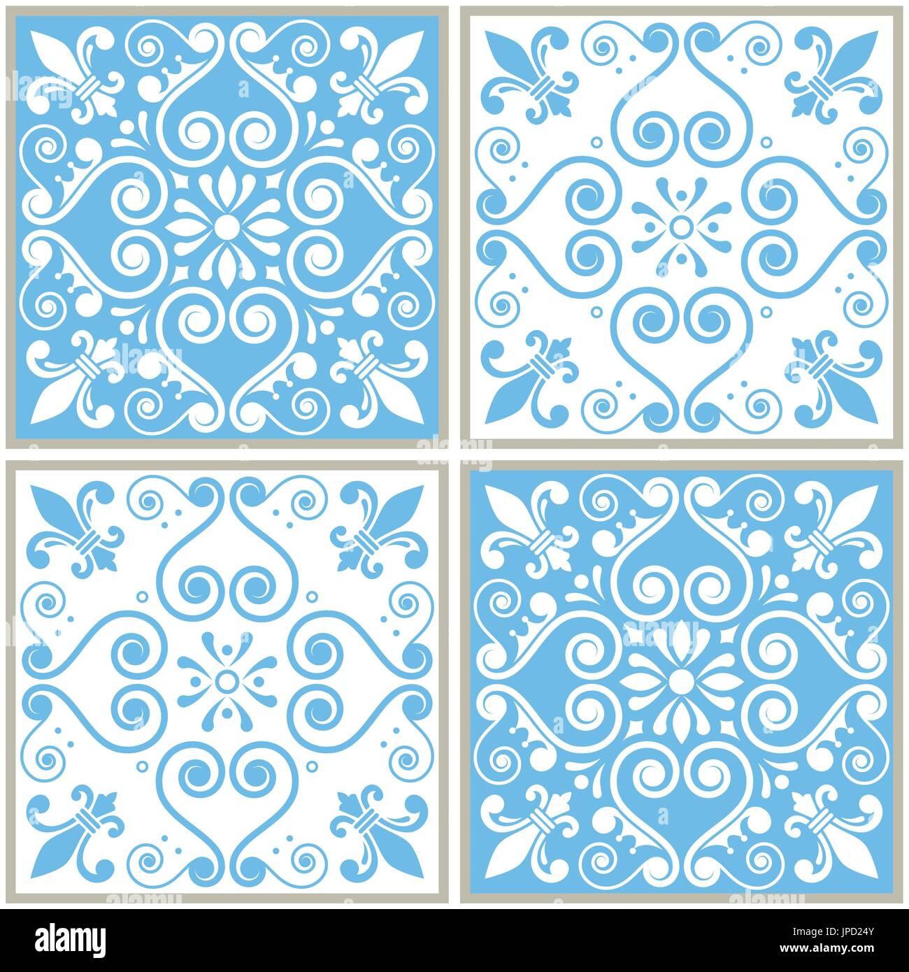 Tiles seamless collection, Portuguese or Spanish vector tile design ...