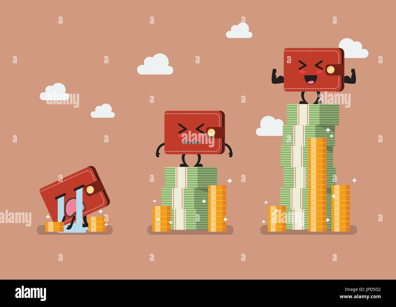 wallet with money infographic social stratification concept stock
