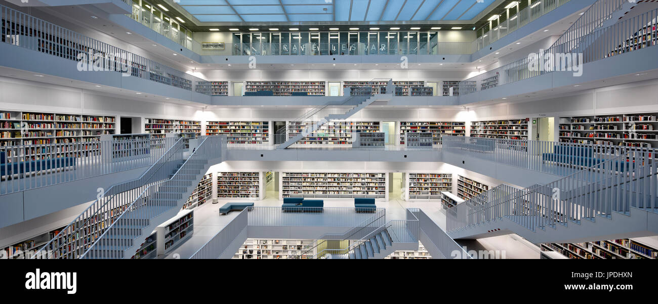 Charmant Panoramic View, Gallery With Stairs Of City Library, Architect Eun Young  Yi, Stuttgart, Baden Württemberg, Germany