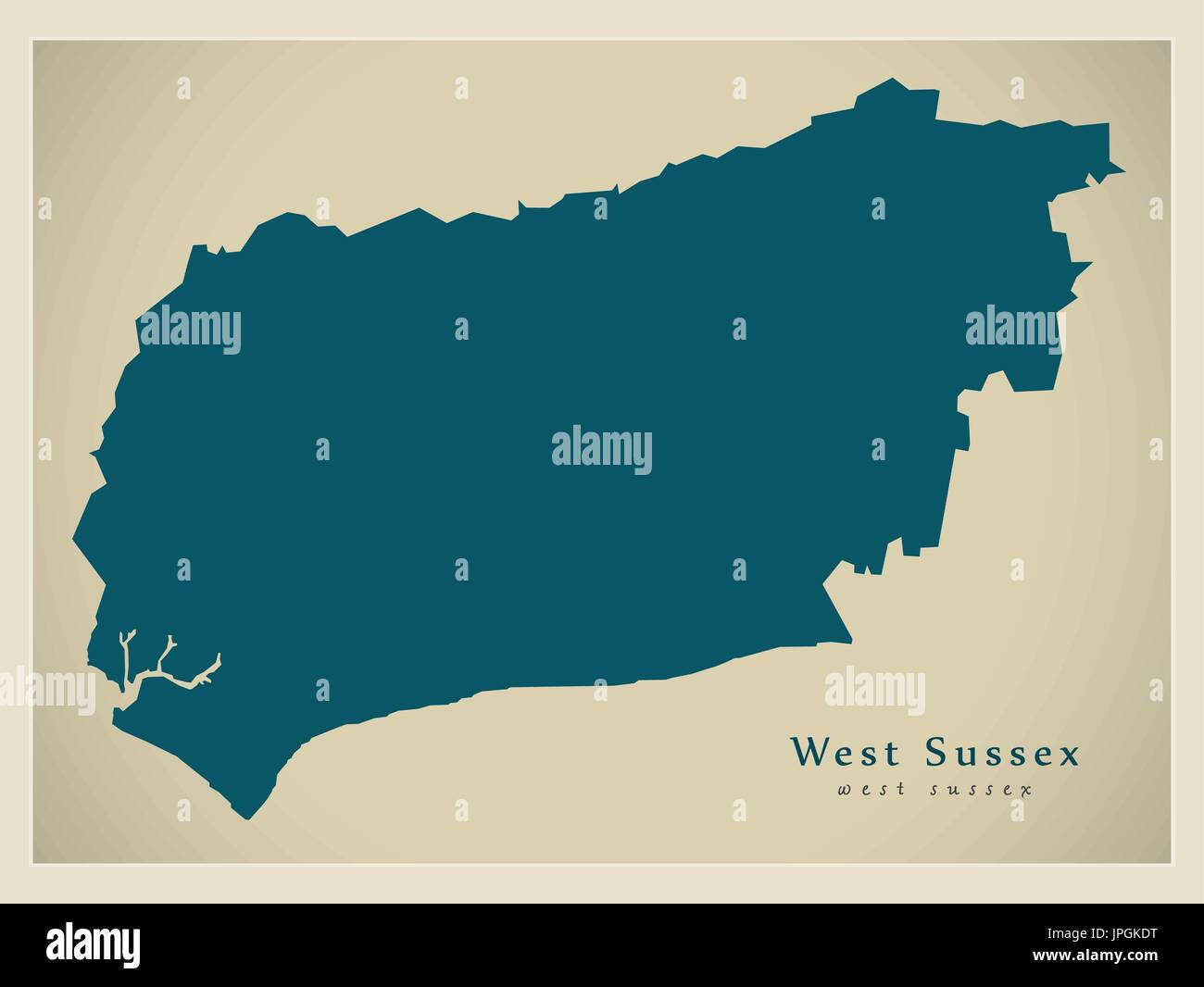 Modern Map West Sussex County England Uk Illustration Stock Vector