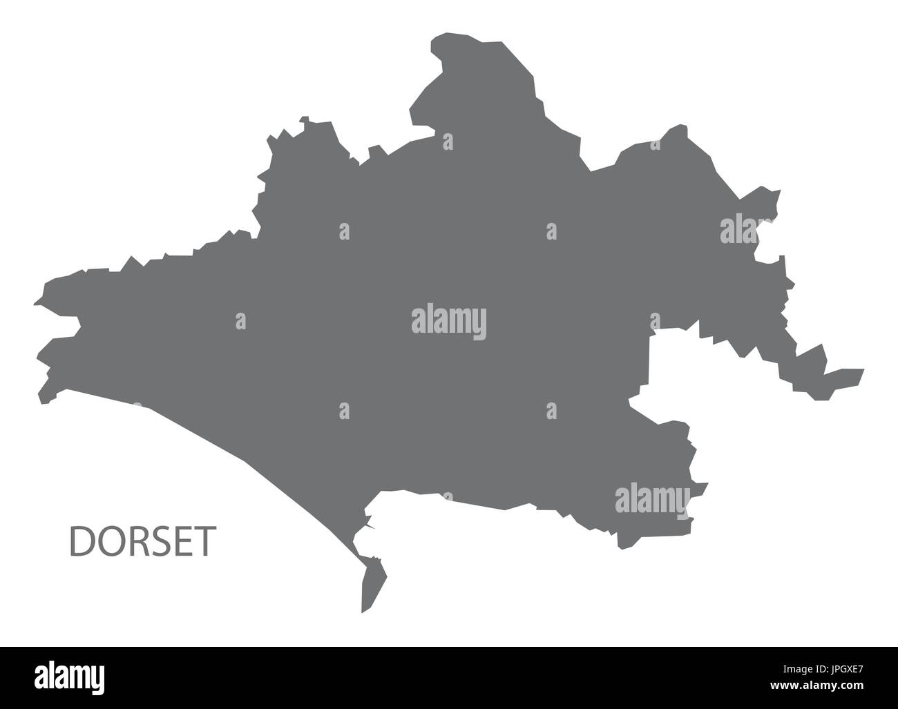 Dorset county map England UK grey illustration silhouette shape