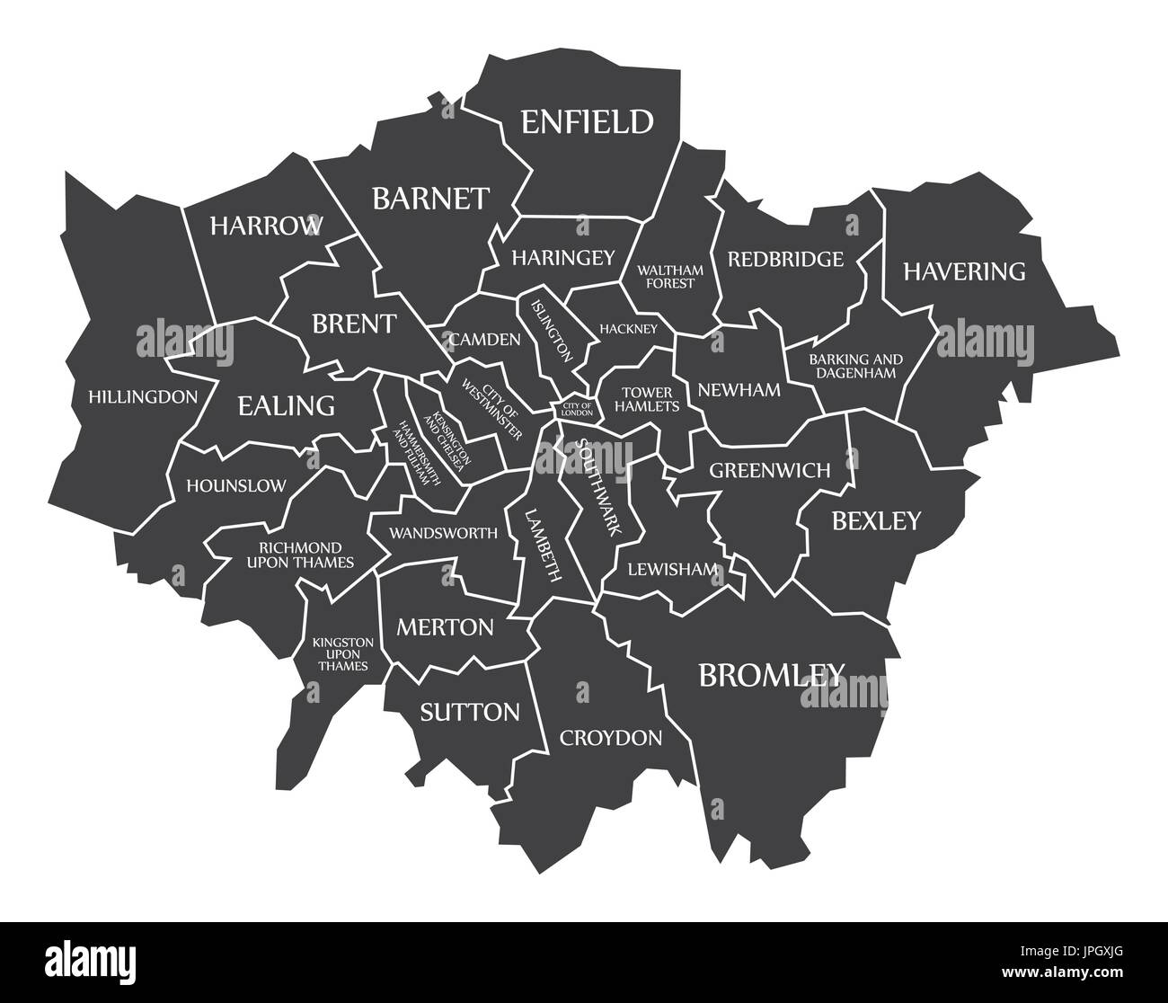 London In England Map.Greater London Administrative Area England Uk Black Map With White