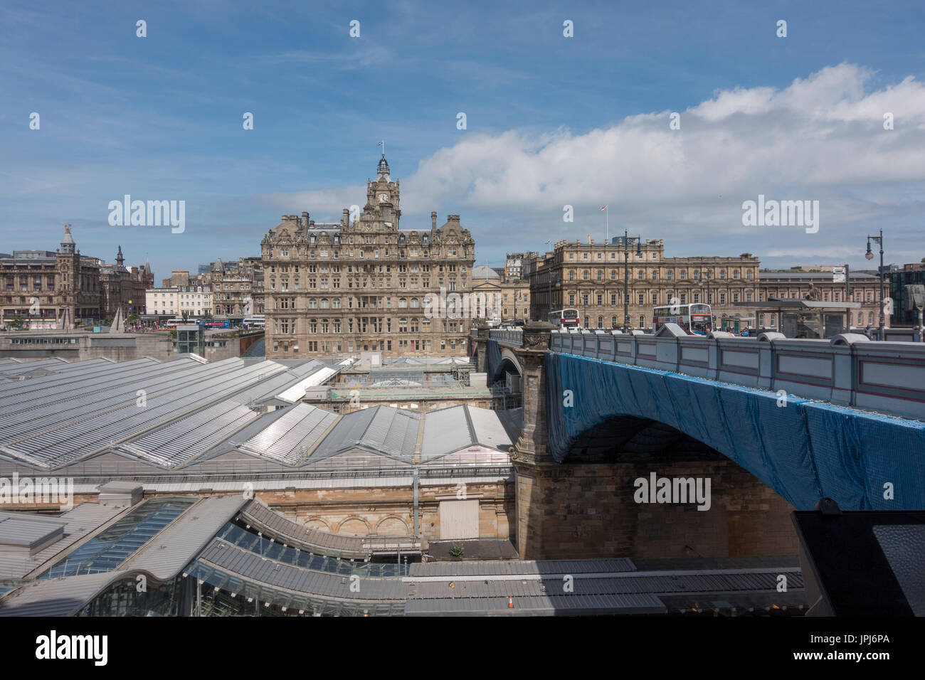 The Balmoral Hotel Seen From Old Town Edinburgh, Across The Roof Of  Waverley Station Scotland