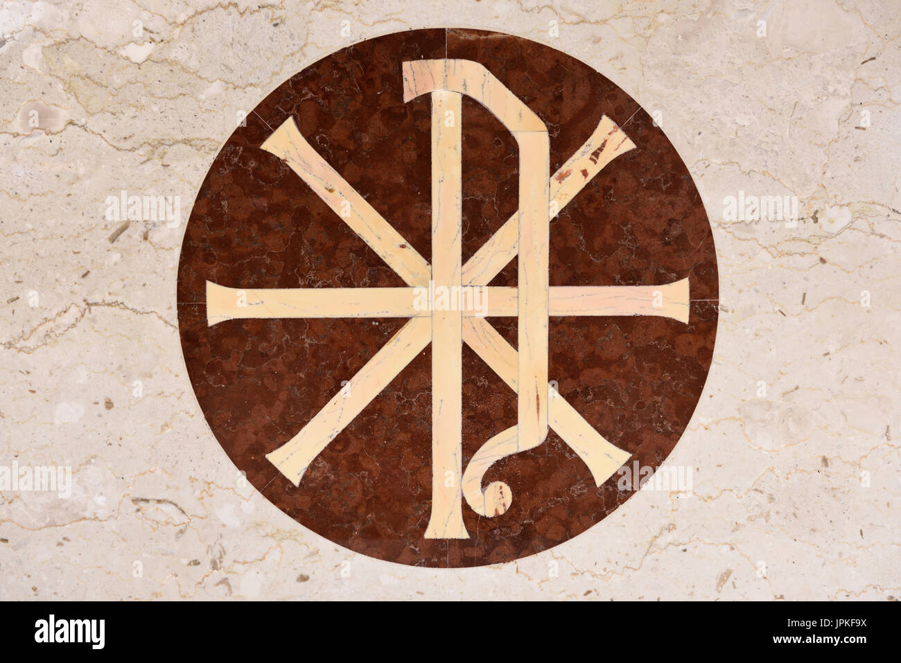 Christian chi rho px symbol for first two greek letters of christ christian chi rho px symbol for first two greek letters of christ on inlaid marble of catholic church altar toronto buycottarizona
