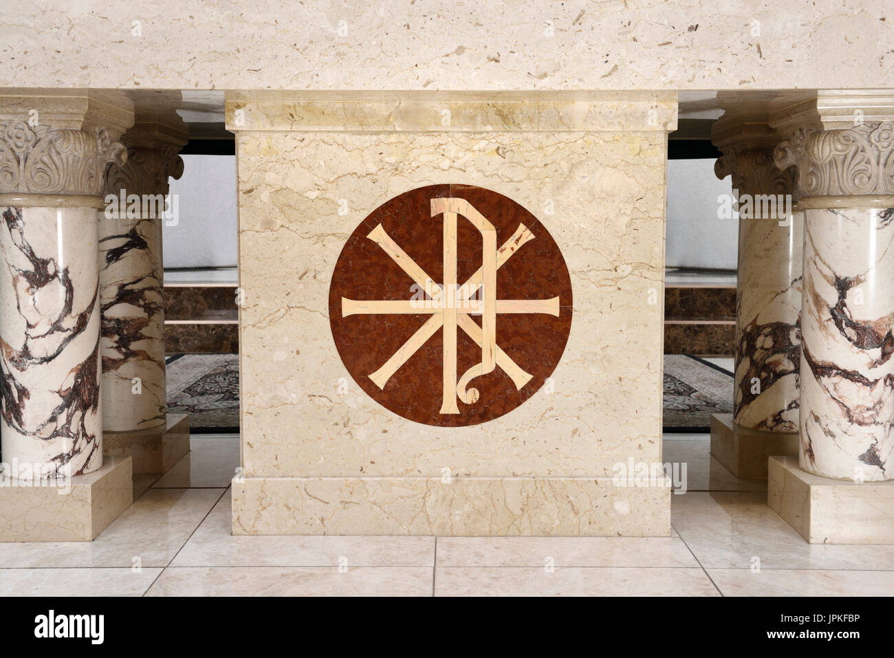 Chi rho stock photos chi rho stock images alamy christian chi rho symbol for first two greek letters of christ inlaid on the marble altar biocorpaavc Image collections