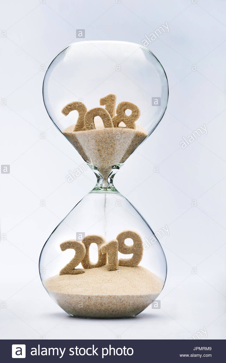 New Year 2019 Concept With Hourglass Falling Sand Taking