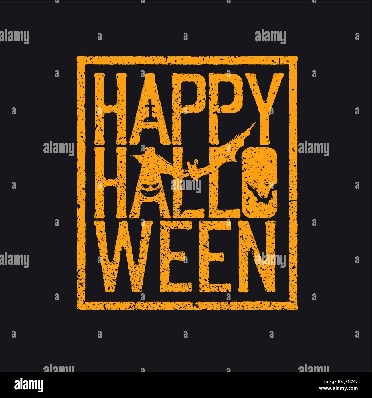happy halloween logotype grunge stamp letters and scary elements bats grave pumpkin