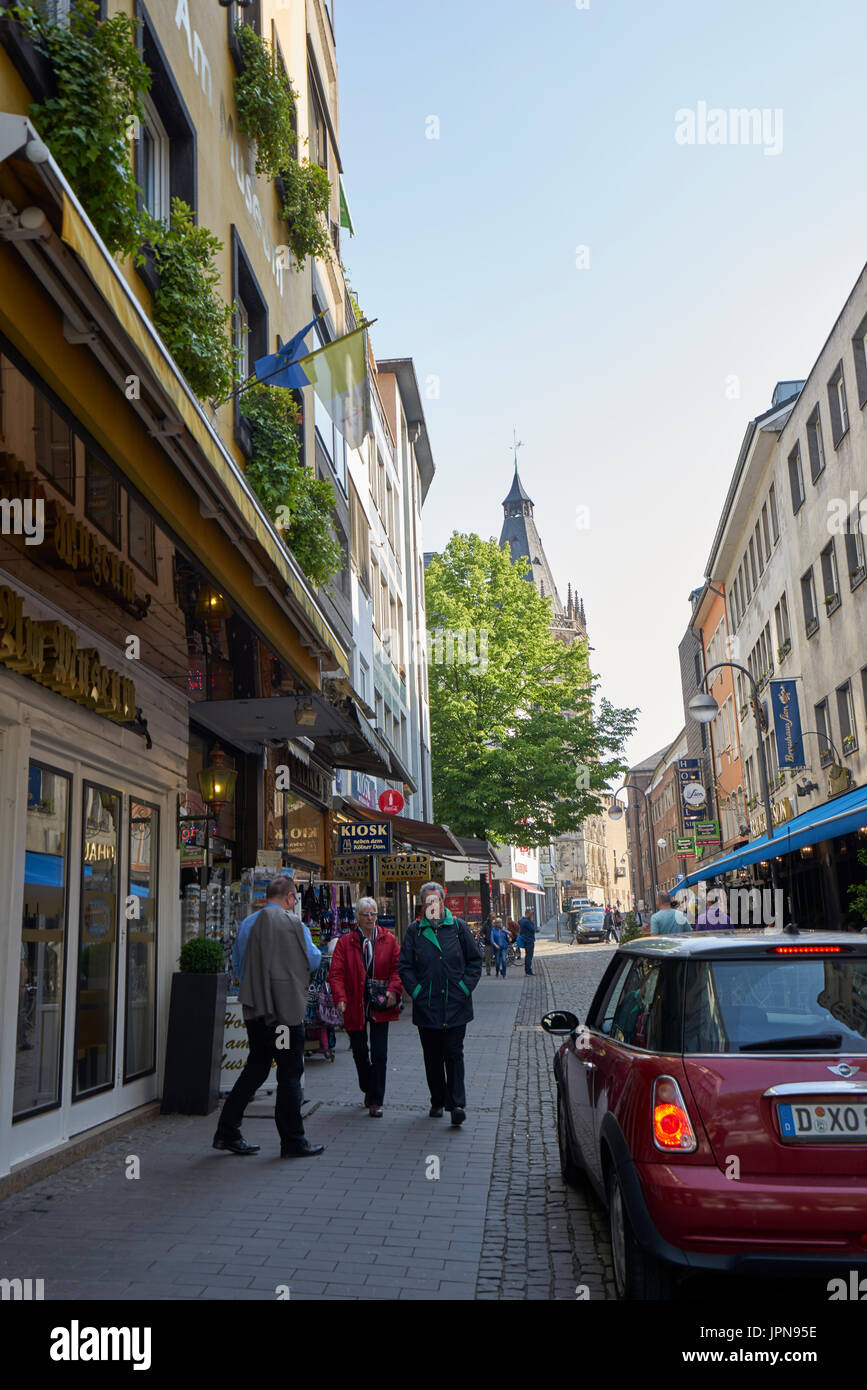 cologne germany may 10 2017 street scene in busy inner city cologne
