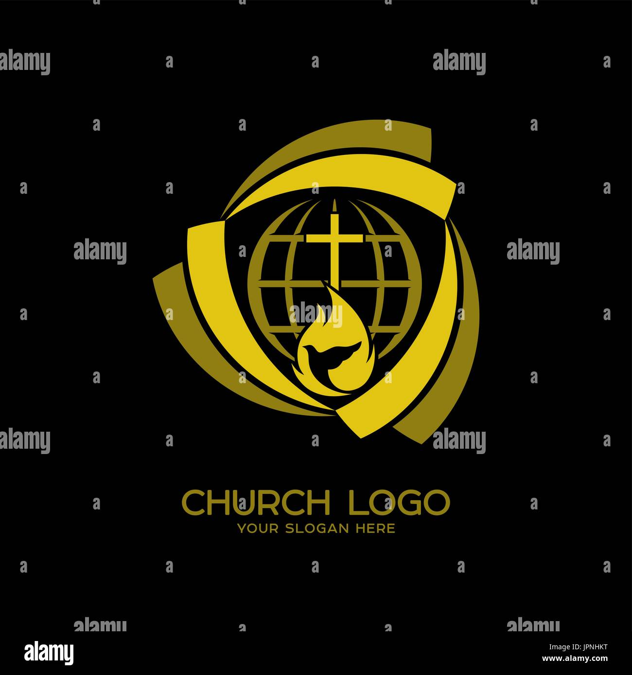Church Logo Christian Symbols The Cross The Globe And Symbols Of